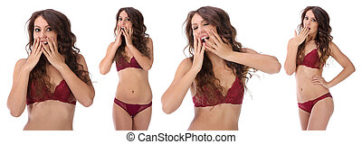 Woman covering her mouth and laughing isolated