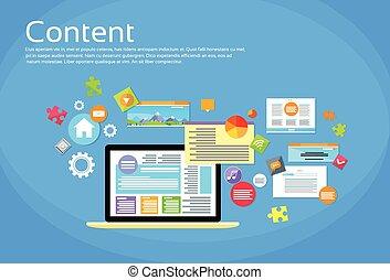 Laptop Digital Content Web Site Page Design Flat Vector...