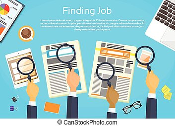 Business Peope Hands Searching Job Newspaper Classified...