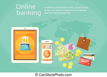 Online Banking Internet Electronic Payment Tablet Phone...