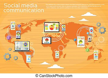 Social Media Global Communication People World Map Digital Device Tablet Computer Laptop Phone
