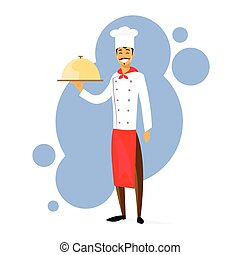 Cartoon Chef Cook with Dish Full Length