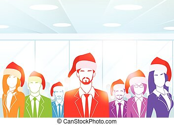 Business People Group at Office Colorful Silhouettes New Year Christmas Hat Corporate Party Holiday