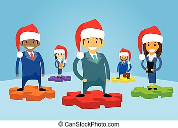 Cartoon Business People Group Standing on Puzzle Piece New Year Christmas Hat Corporate Party
