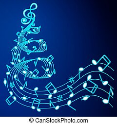 Christmas tree of music . - Christmas tree of musical notes...