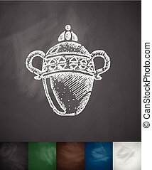 vase icon. Hand drawn Chalkboard Design