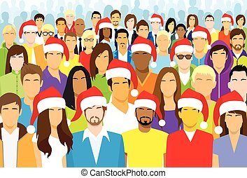 Christmas Group of People Wear Santa Hat Big Crowd New Year...