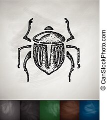 scarab icon. Hand drawn Chalkboard Design