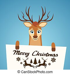 Merry Christmas Reindeer Cartoon Character Poster Santa Helper Greeting Card Hold Placard Sign Board Blank with Copy Space