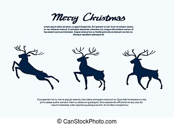 Reindeer Silhouette Christmas New Year Santa Deer Isolated