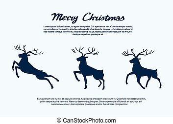 Reindeer Silhouette Christmas New Year Santa Deer Isolated