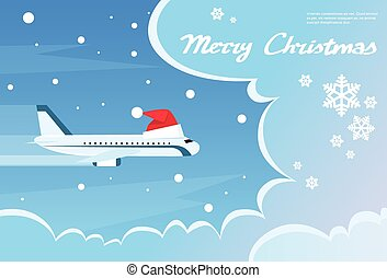 Airplane Santa Red Christmas Hat Cloud Blue Sky Banner Flat...