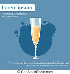 Glass of Champagne Wine Toast Flat Vector Illustration