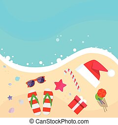 Christmas Santa Hat on Ocean Beach Flip-flops Sand Sea Star...