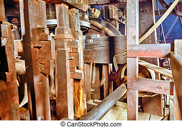 Inside the room of a windmill, a suburb of Amsterdam....