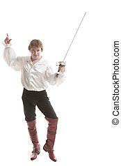 man in medieval clothes with sword - handsome man in...
