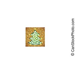 Cristmas tree card with glitter and showflakes
