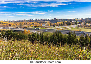 City of Edmonton river valley - View to the river valley of...