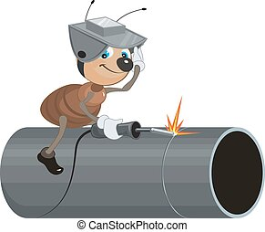 Ant Welder welds pipe Isolated illustration in vector format...