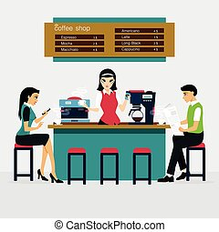 coffee shop - Men and women are drinking coffee cafe.