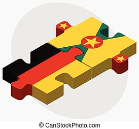 Germany and Grenada Flags in puzzle isolated on white...
