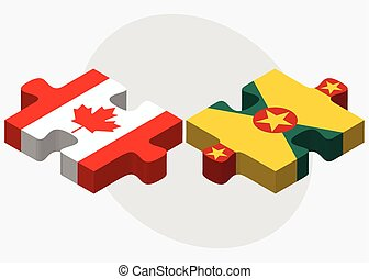 Canada and Grenada Flags in puzzle isolated on white...