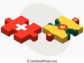 Switzerland and Grenada Flags in puzzle isolated on white...