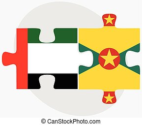 United Arab Emirates and Grenada Flags in puzzle isolated on...