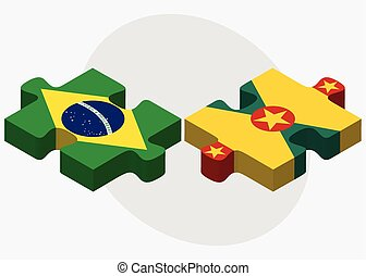 Brazil and Grenada Flags in puzzle isolated on white...