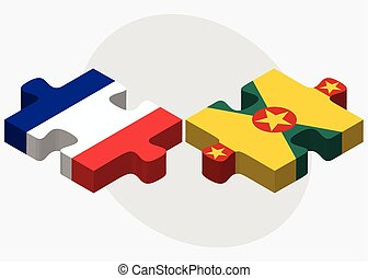 France and Grenada Flags in puzzle isolated on white...