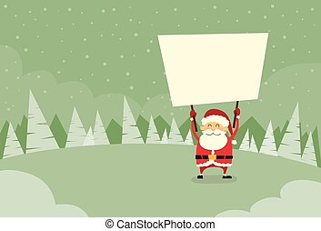 Santa Claus Banner, White Sign Board Blank Empty Copy Space...