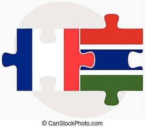 France and Gambia Flags in puzzle isolated on white...
