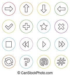 Navigation Arrow Contol Thin Line Simple Icons Set Colorful...