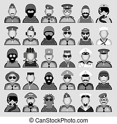 Military avatars - Original creative vector avatars of men...