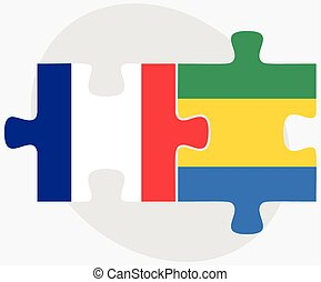 France and Gabon Flags in puzzle isolated on white...