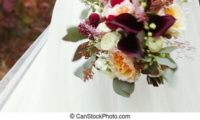 Wedding bridal bouquet nature - Hands bride holding wedding...