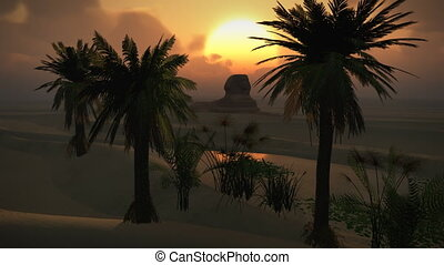 (1150) Egyptian Sphinx Desert Sandstorm Sand Dunes Oasis Sunset Clouds LOOP