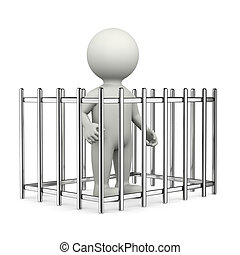 Prisoner 3D Character - One Single White Character Standing...