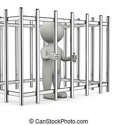 Trapped 3D Character - One Single White Character Standing...