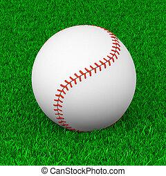 Baseball Ball on Grass Sport Equipment 3D Illustration