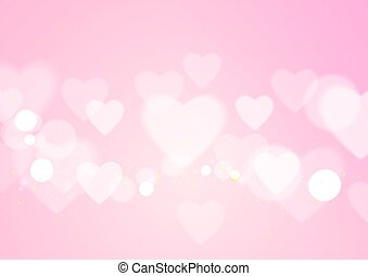 Love Abstract with Hearts on Pink Background