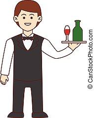 Waiter doodle cartoon