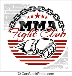 MMA mixed martial arts emblem badges on a white background.