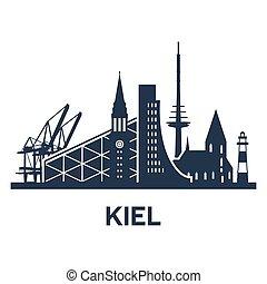 Kiel City Skyline - Abstract skyline of city Kiel, vector...