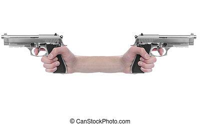 Gun Point - Hand holding a handgun pistol 357 Magnum...