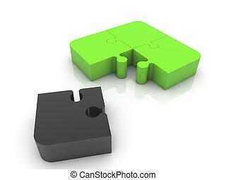 Four puzzle pieces in black