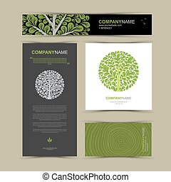 Business cards template with stylized tree.