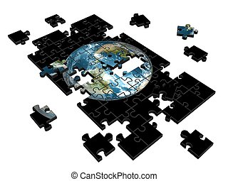 Puzzle - Pieces of puzzle with image of Earth 3d...