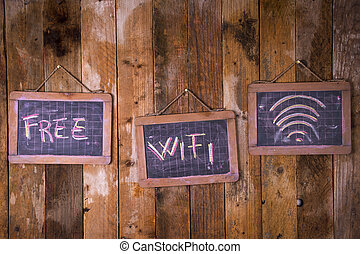 Free wi-fi zone - Graphical representation with chalk on the...
