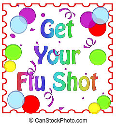 flu party - flu shot reminder colorful balloons on white...